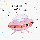 Cute cat astronaut in a mysterious object ufo in the sky night. Concept for children print. Sweet kids graphics for t-shirts. Greeting card.