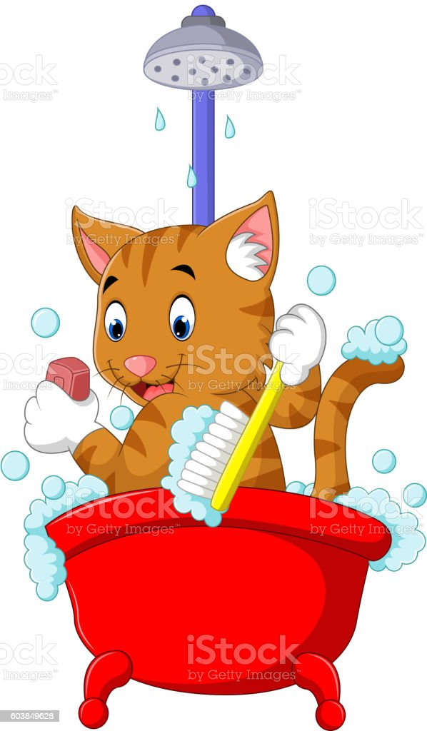 cute Cat bathing time vector art illustration