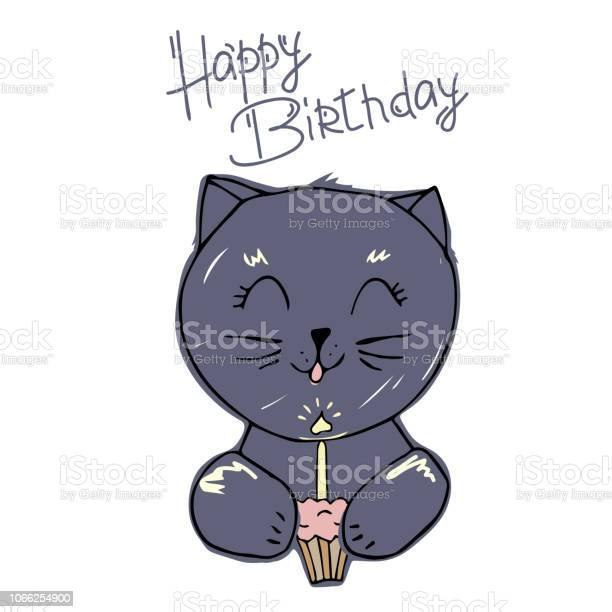 Cute cat blows out the candle on the cupcake creative cards templates vector id1066254900?b=1&k=6&m=1066254900&s=612x612&h= 5fw ig1ggu9gkizoggw6zj6ju1rsd4ljp4txntttno=