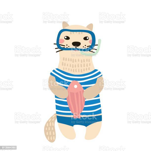 Cute cat boy hand drawn vector illustration cartoon cat with fish and vector id813984060?b=1&k=6&m=813984060&s=612x612&h=lvsepl80juv4flzht0ro02c4hkiecmww9ptr11j h7m=