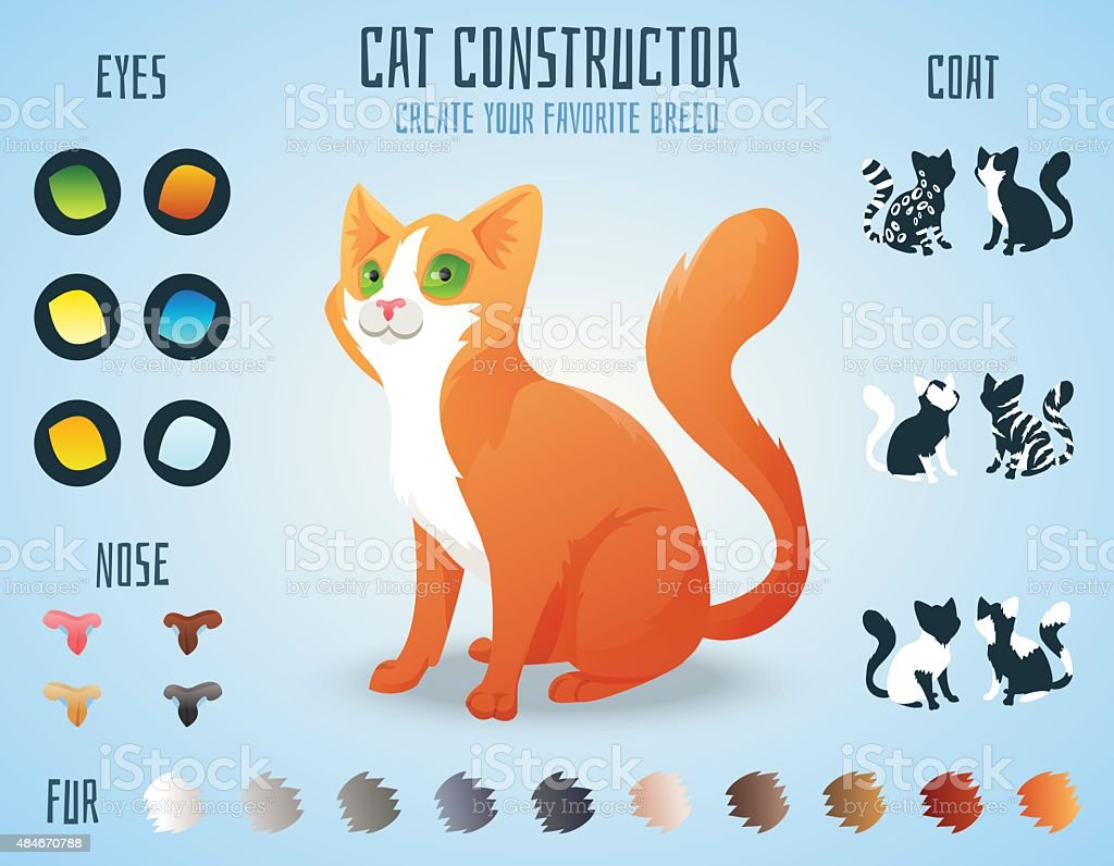 Cute cat breed constructor. You can create your own kitten vector art illustration