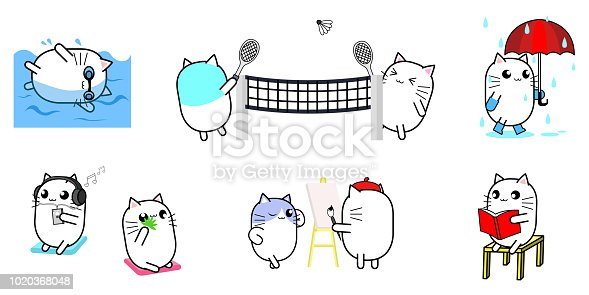 Cute cat cartoon character design activity set swiming, walking in the rain, play badminton, listen music, drawing, and reading.