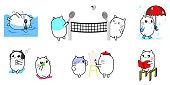 Cute cat cartoon character design activity set swiming, walking in the rain, play badminton, listen music, drawing, and reading.