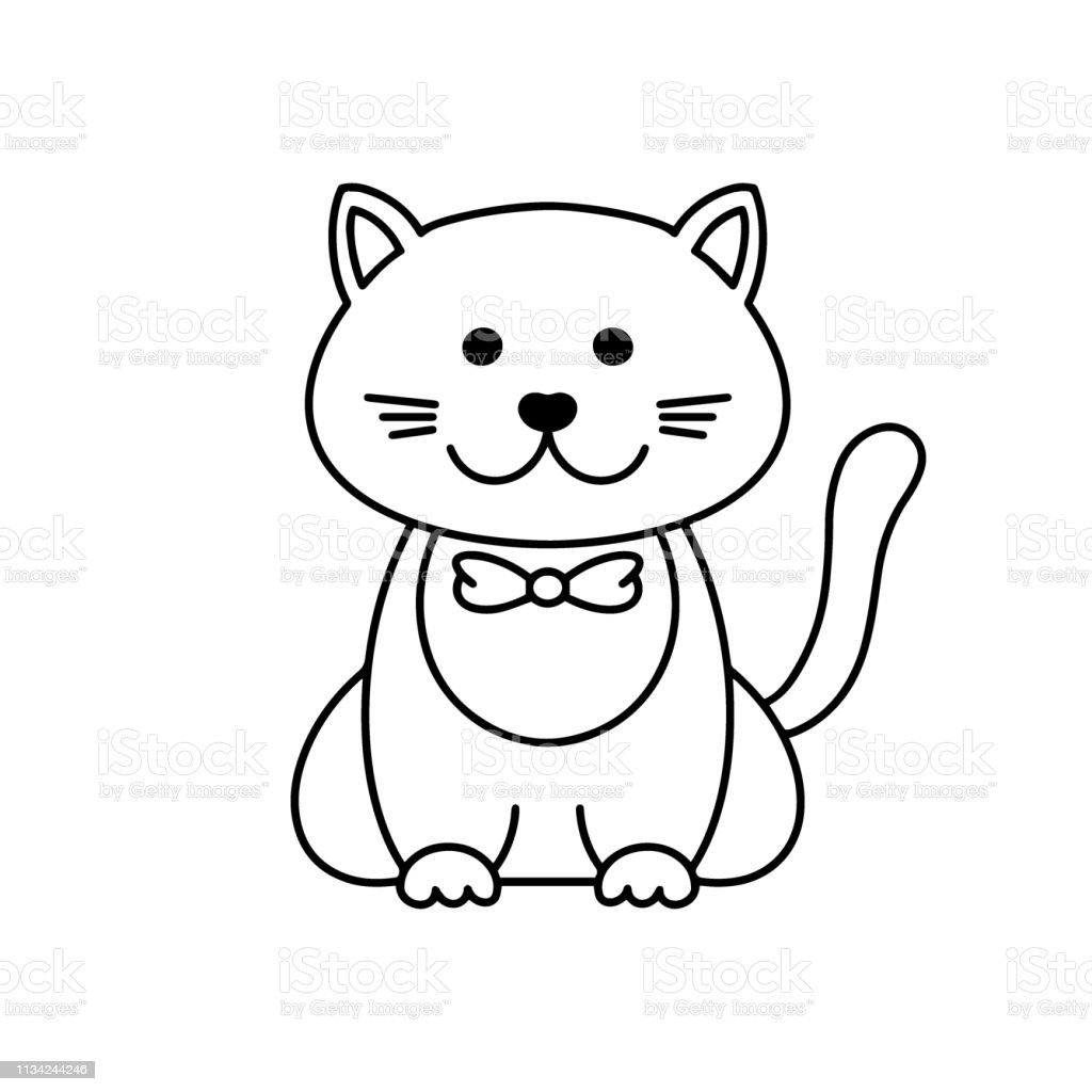 Cute Cat Cartoon Linear Art Animal Sketch Vector Illustration Of Little Smile Kitten Black Outline Style Isolated On White Background Coloring Book Template For Children Stock Illustration Download Image Now Istock