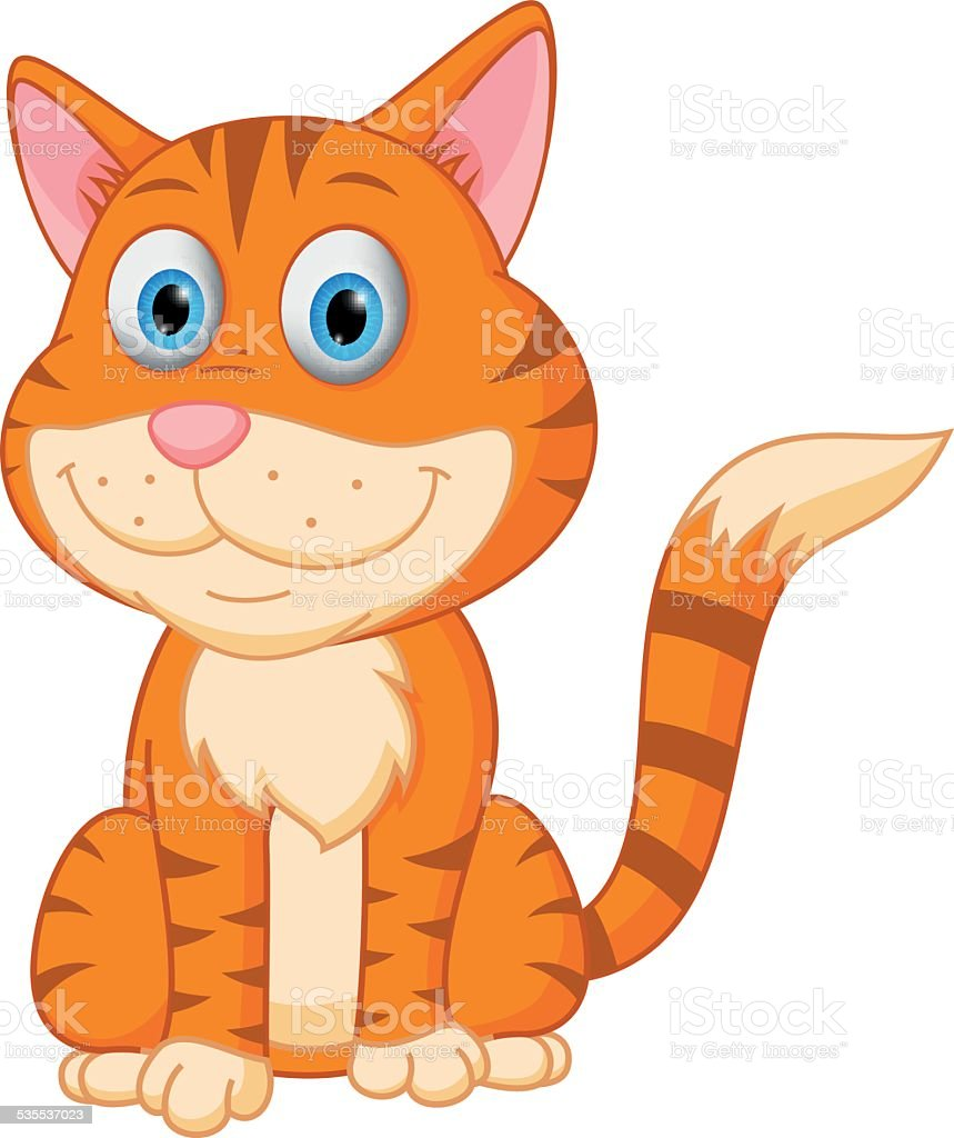 Cute cat cartoon vector art illustration