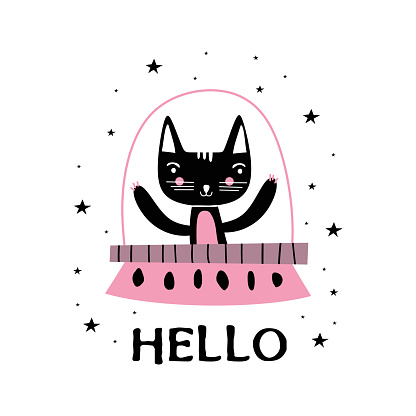 Cute cat character animals astronauts cat in outer space, rockets, UFO, planets, constellations, stars. Cat as a cosmonaut, space suit, funny futuristic design for kids. Vector illustration