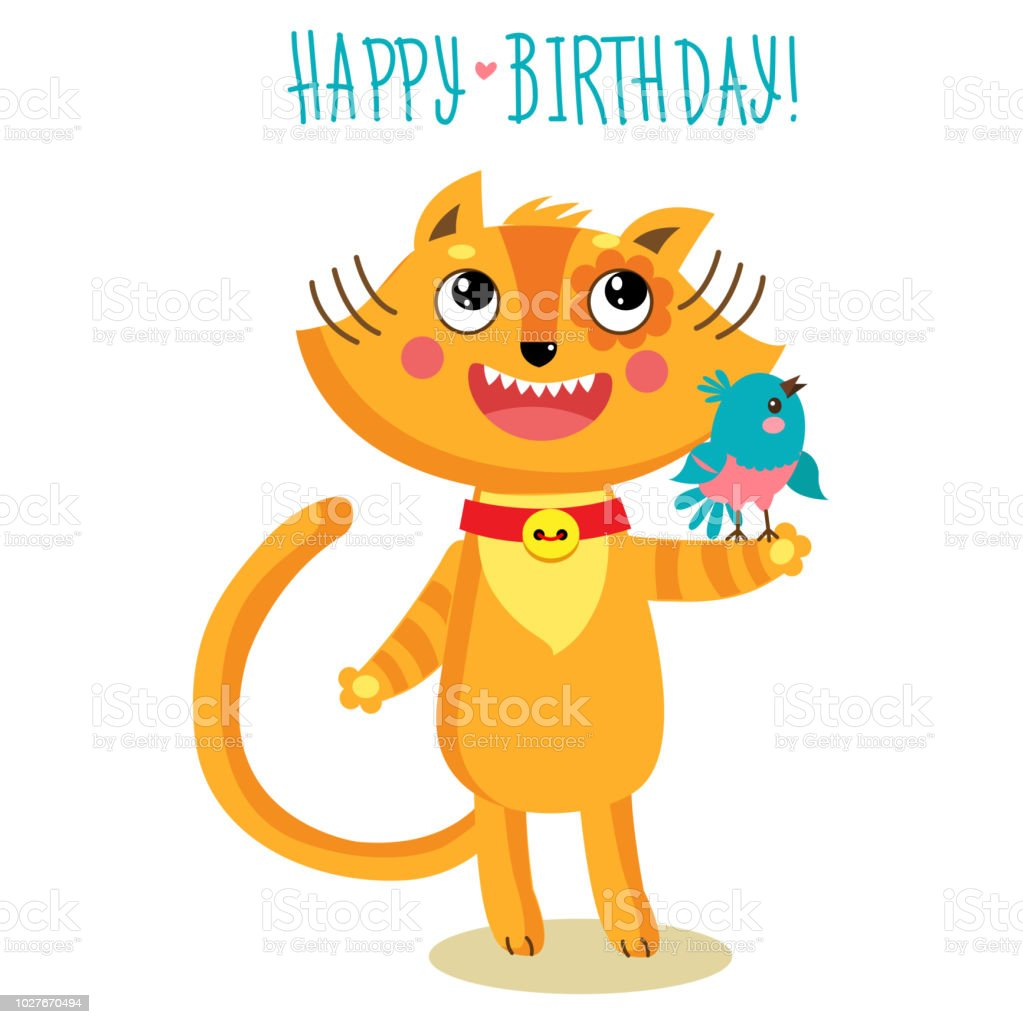 Cute Cat Character Greetings Card Funny Birthday Greeting Card Stock