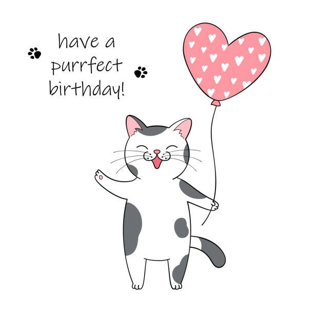 4 307 Cat Birthday Illustrations Clip Art Istock