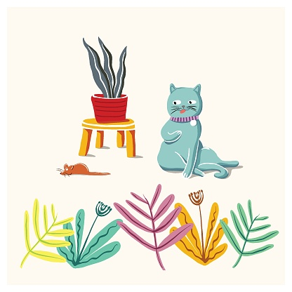 Cute cat color flat hand drawn - vector illustration