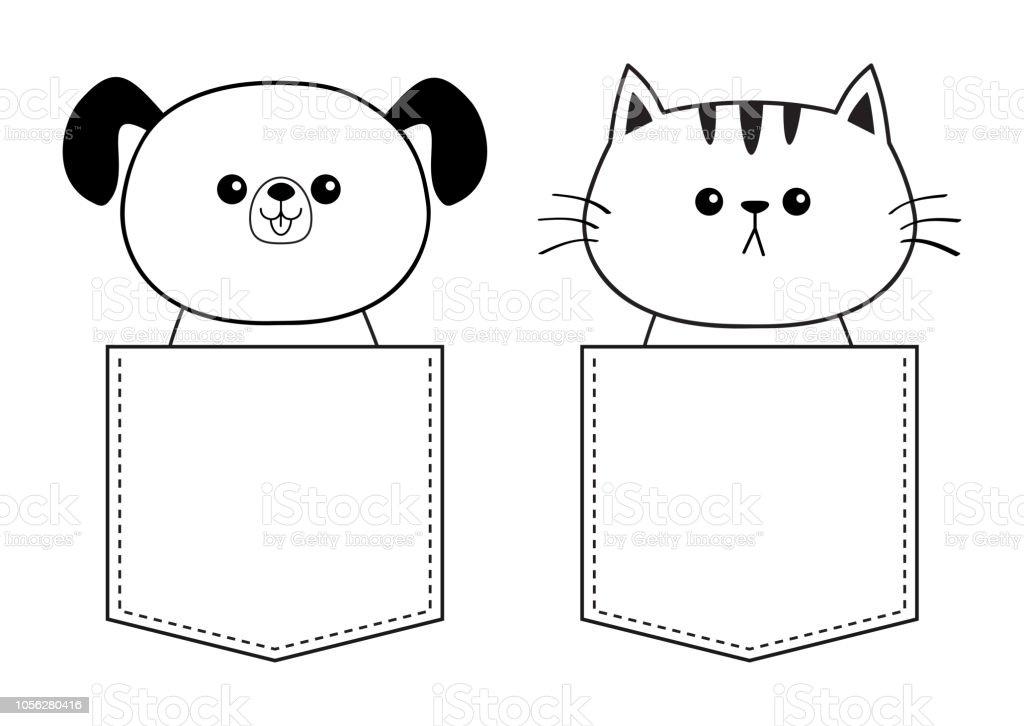 Chat Mignon Chien Dans La Poche Doodle Contour Lineaire Croquis