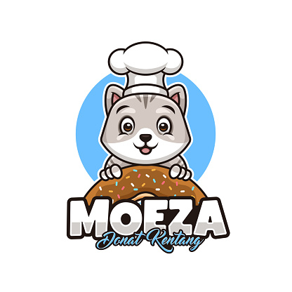 Cute Cat Donut Logo with Chef Hat for Your own Bakery Shop