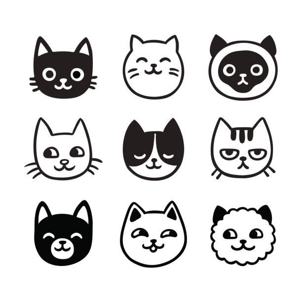 かわいい猫のいたずら書きセット - 子猫点のイラスト素材/クリップアート素材/マンガ素材/アイコン素材