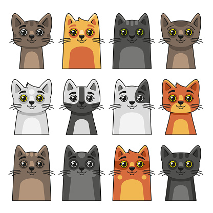 Cute Cat Face Icon Set. Cartoon Style on White Background Vector