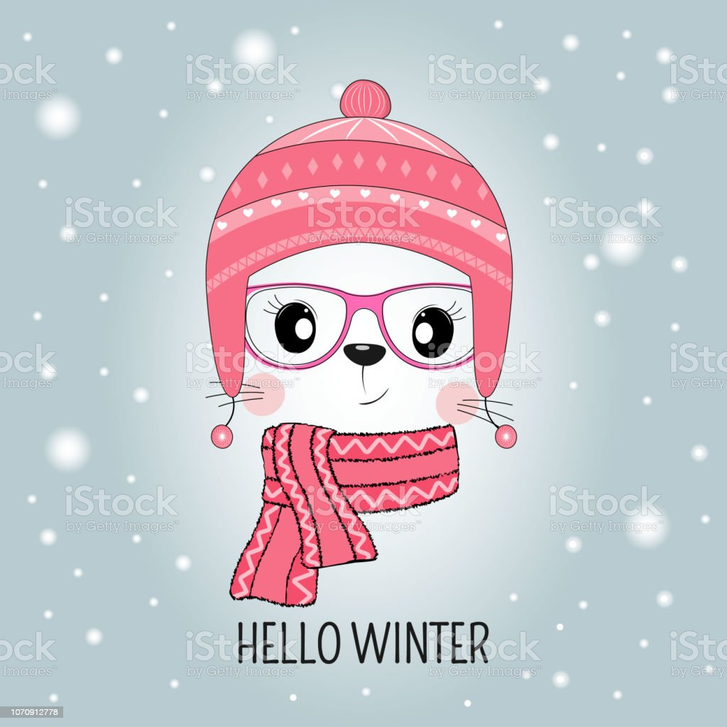 Cute cat face in hat with message Hello Winter isolated in blue background. vector art illustration