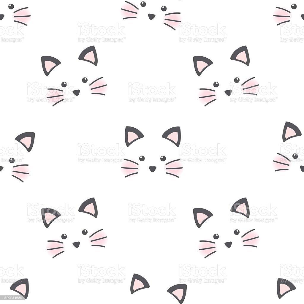 Cute cat face vector art illustration