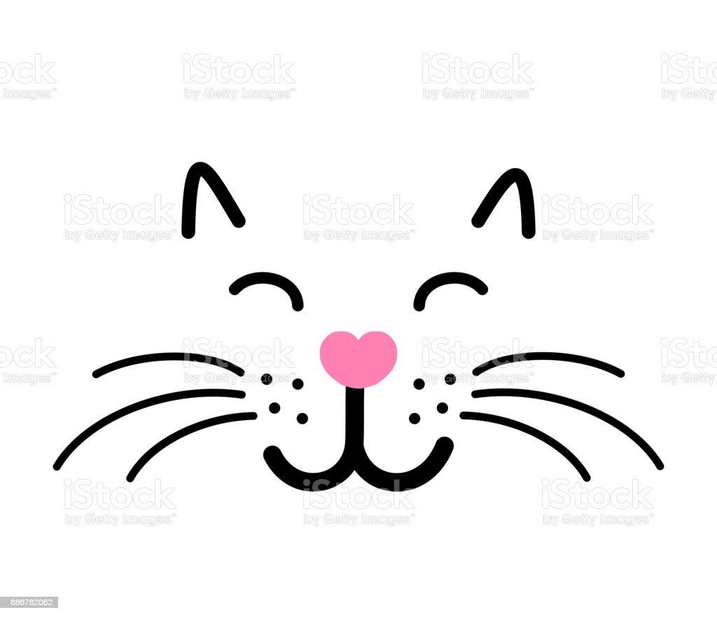 cute cat face vector illustration stock vector art more images of