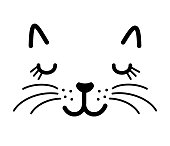 Cute cat face vector illustration