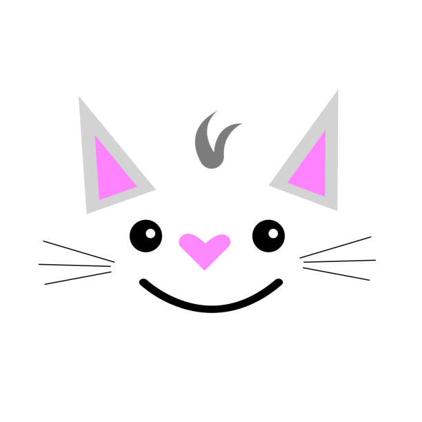 cute cat face with wide smile and heart-shaped nose vector art illustration