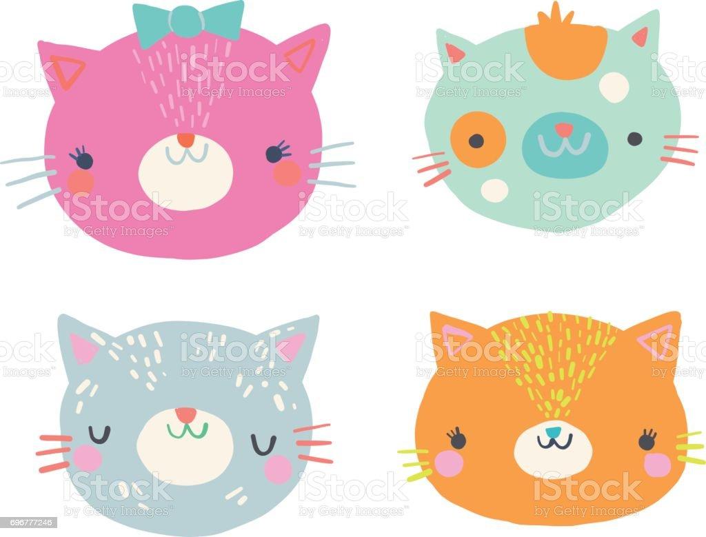 かわいい猫顔クリップアート イラスト セット - アメリカ合衆国の