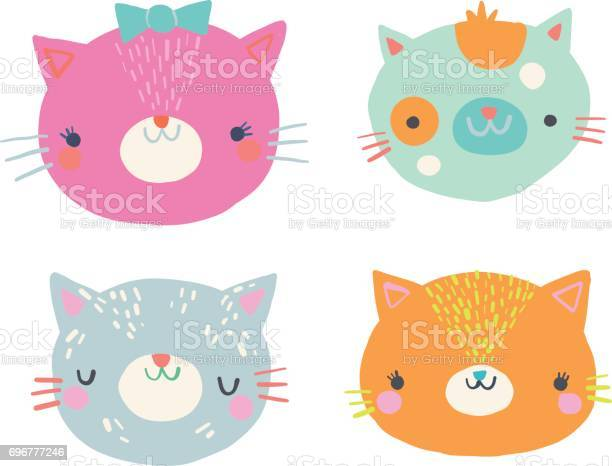 Cute cat faces clip art illustration set vector id696777246?b=1&k=6&m=696777246&s=612x612&h=t2ti t3sdmymbflpsippc8udnzsldeijbfsoov0wouo=