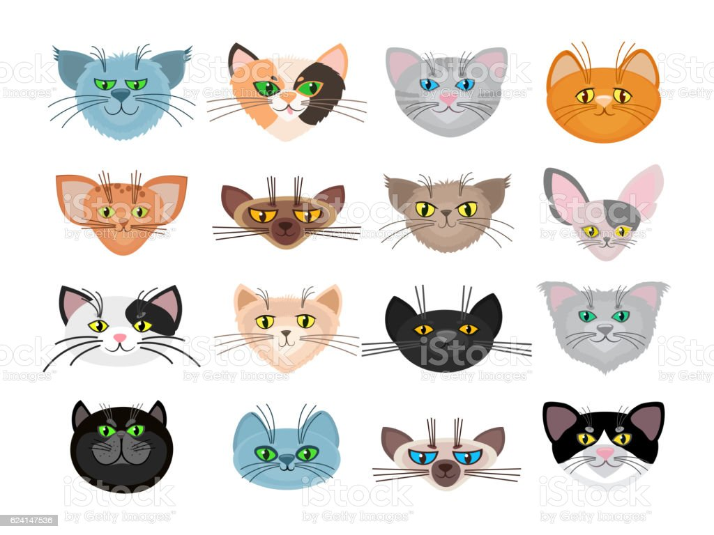 Cute cat faces vector illustration vector art illustration