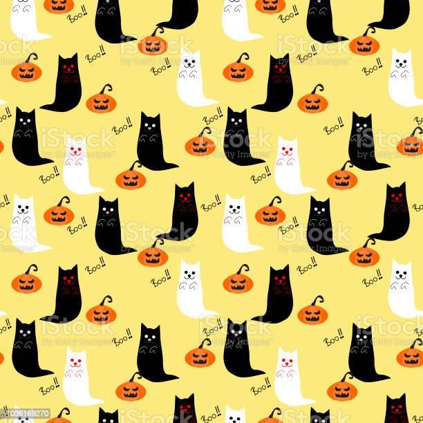 Cute cat ghost and halloween pumpkins seamless vector id1036169270?b=1&k=6&m=1036169270&s=612x612&h=ncvvrtyuuczjn0xtoobtmczgtib tblpil3c eg0cey=