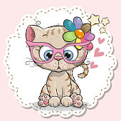 Cute cartoon Cat girl in pink eyeglasses with a flower