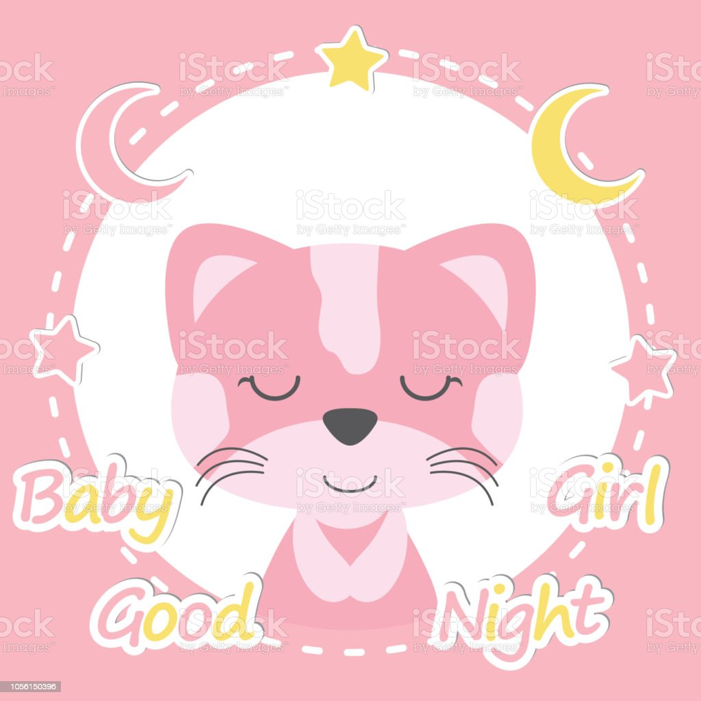 Cute Cat Girl On Pink Frame Suitable For Baby Shower Invitation Card
