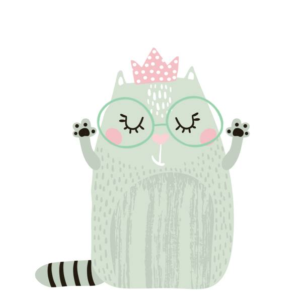 Muchacha de lindo gato con corona aislada sobre fondo blanco. Imprimir infantil para la ropa, vivero, tarjetas, carteles. Ilustración de vector - ilustración de arte vectorial