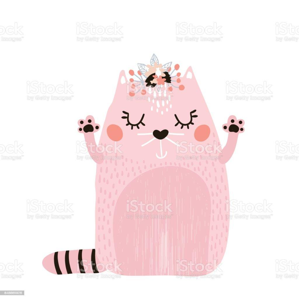 Muchacha de lindo gato con guirnalda floral aislado en blanco. Imprimir infantil para la ropa, vivero, tarjetas, carteles. Ilustración de vector - ilustración de arte vectorial