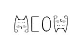 Cute cat graphic.Meow handwriting lettering. Typography slogan for t shirt printing, slogan tees, fashion prints, posters, cards, stickers.