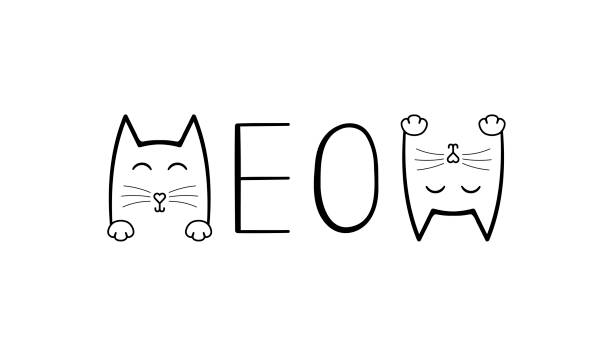 stockillustraties, clipart, cartoons en iconen met cute cat grafische. miauw handschrift belettering. typografie slogan voor t-shirt afdrukken, slogan tees, fashion prints, posters, kaarten, stickers - miauwen