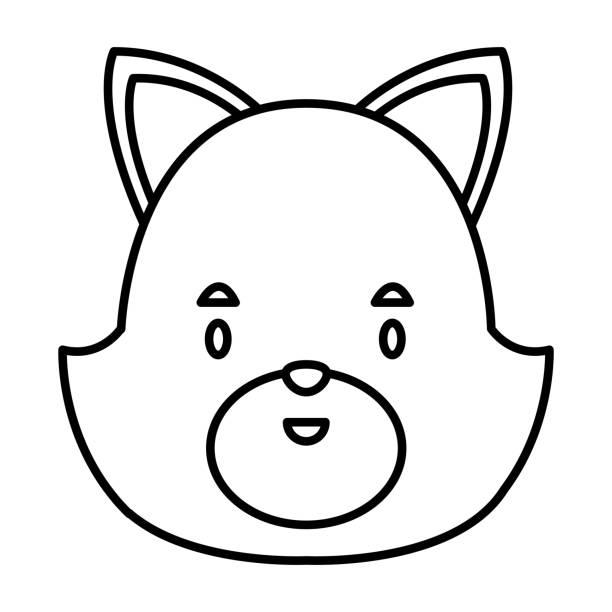 귀여운 고양이 머리 만화 - 강아지 실루엣 stock illustrations