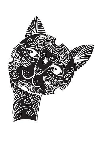 Cute cat head doodle style.