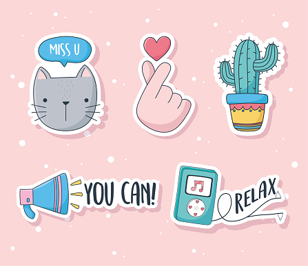 cute cat heart cactus speaker music stuff for cards stickers or patches decoration cartoon