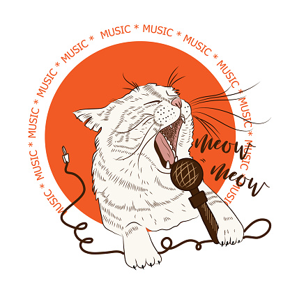 Cute cat holding microphone performs song