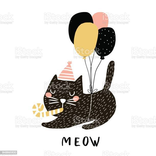 Cute cat illustration with balloons hand drawn with brush and ink vector id848865830?b=1&k=6&m=848865830&s=612x612&h=csxod8wqozvs6g qmuxboeddypzumd7joorch wv2o4=