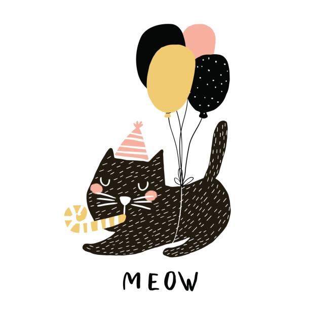 Ilustración de lindo gato con globos. Mano alzada con pincel y la tinta de impresión creativos niños. Ideal para prendas de vestir, decoración cuarto de niños, tarjetas, carteles, ducha de bebé - ilustración de arte vectorial