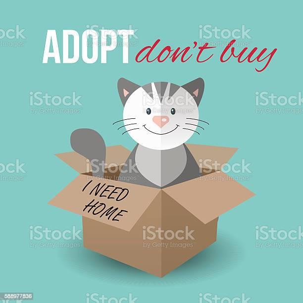 Cute cat in a box homeless animals pets adoption theme vector id588977836?b=1&k=6&m=588977836&s=612x612&h=gbaksayocpzf1443ozy4hzvrl5xshbw3tt1vzhvbm9o=