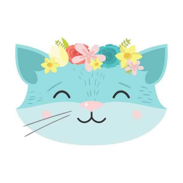 stockillustraties, clipart, cartoons en iconen met leuke kat in een krans van bloemen. de illustratie van het raster in vlakke beeldverhaalstijl. - miauwen