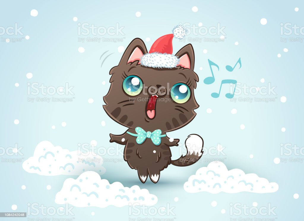 Cute Cat In Christmas Hat Stock Illustration - Download Image Now