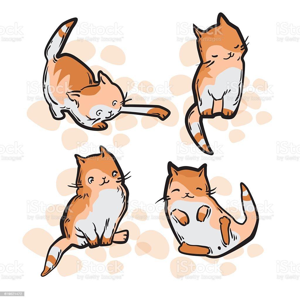 Cute Cat In Funny Cartoon Style Stock Vektor Art und mehr Bilder von  Charakterkopf