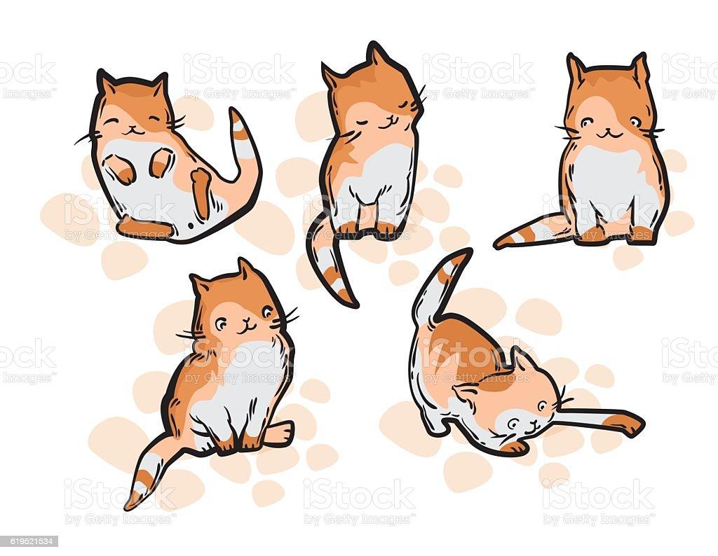 Cute Cat In Funny Cartoon Style Vecteurs Libres De Droits Et