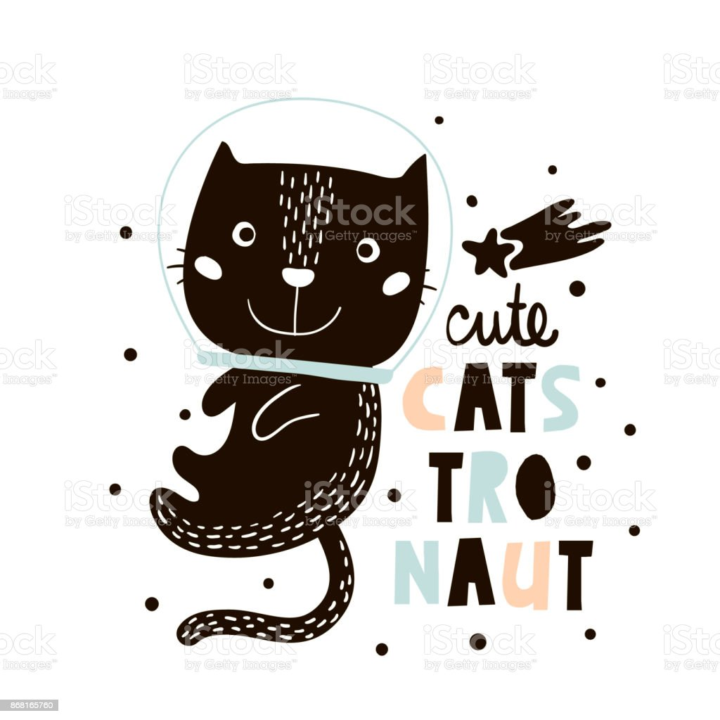 Cute cat in space print. Childish vector illustration in scandinavian style. Perfect for kids and baby apparel design, wall art, poster vector art illustration