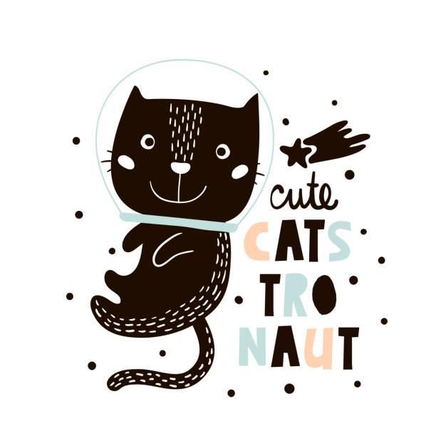 stockillustraties, clipart, cartoons en iconen met schattige kat in de ruimte afdrukken. kinderachtig vectorillustratie in scandinavische stijl. perfect voor kinderen en baby kleding ontwerp, kunst aan de muur, poster - miauwen
