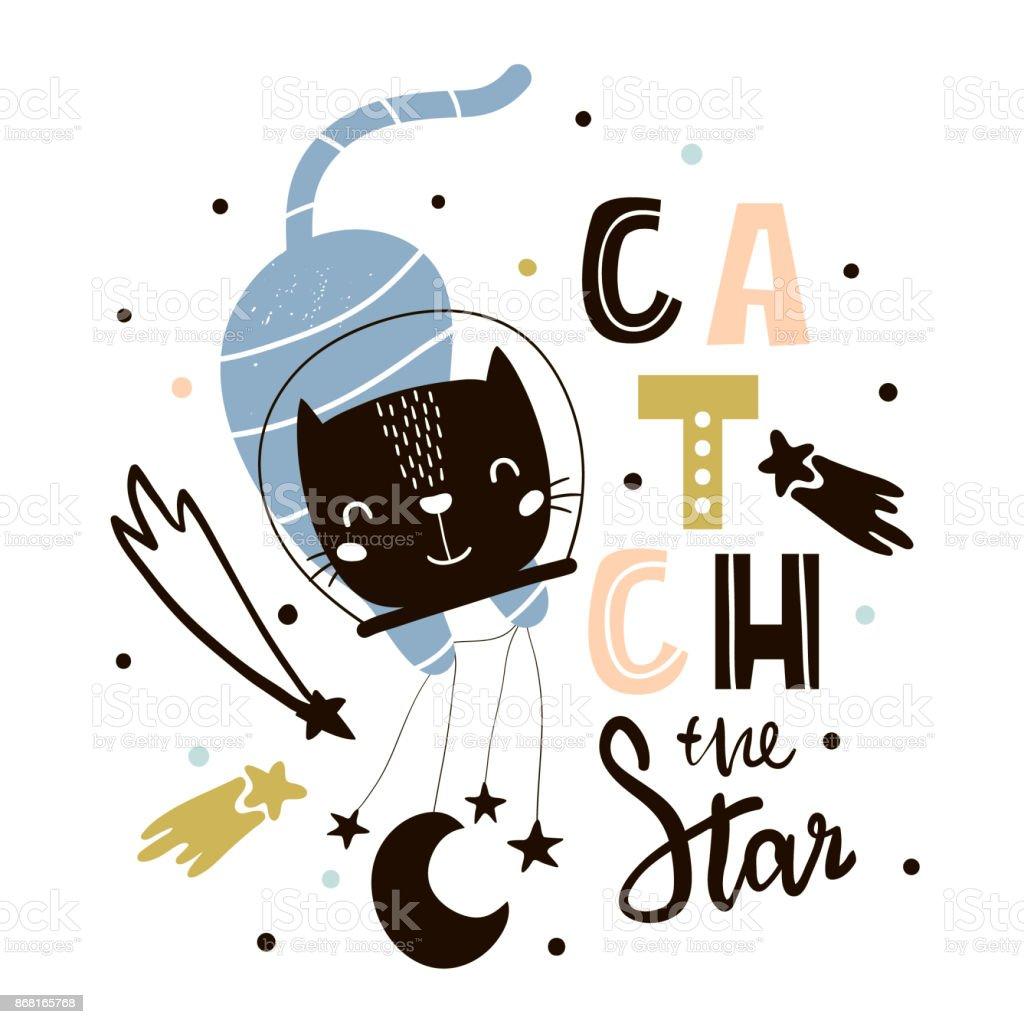 Lindo gato en el espacio de impresión. Ilustración de vector infantil en estilo escandinavo. Perfecto para diseño de ropa de niños y bebé, arte de pared, poster - ilustración de arte vectorial
