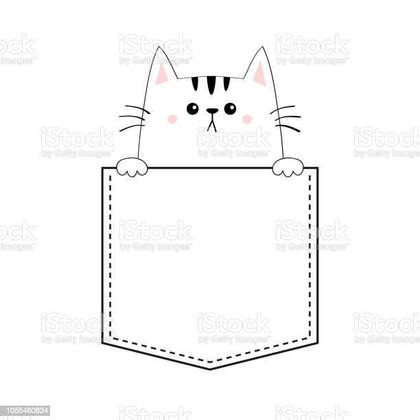 Cute cat in the pocket pink cheeks holding paw hands doodle contour vector id1055460834?b=1&k=6&m=1055460834&s=612x612&h=l5wgidlidps2azjrowk3lgui5ouekiopkjmi0cdvn6w=