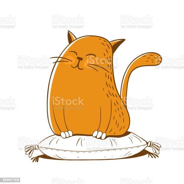 Cute cat is sitting on a pillow vector illustration vector id899967808?b=1&k=6&m=899967808&s=612x612&h=ol yxzssbgzt6cfryb1yz4hl9ycmg ha2ofik rwvo8=