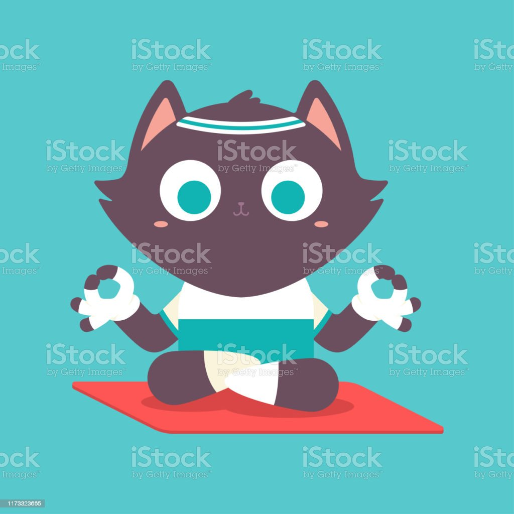 Cute Cat Kid In Yoga Pose Funny Vector Cartoon Pet Character In Lotus Poses Isolated On A Background Stock Illustration Download Image Now Istock
