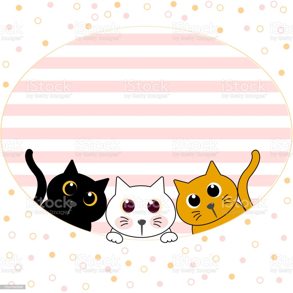 Cute Cat Kitten Family Greeting Cartoon Doodle Wallpaper Cover Vector Illustration Stock Illustration Download Image Now Istock